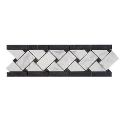 "3 3/4""X11 3/4"" Basket Weave Border In Bianco Carrara + Nero Marquina [Dots] - Honed"