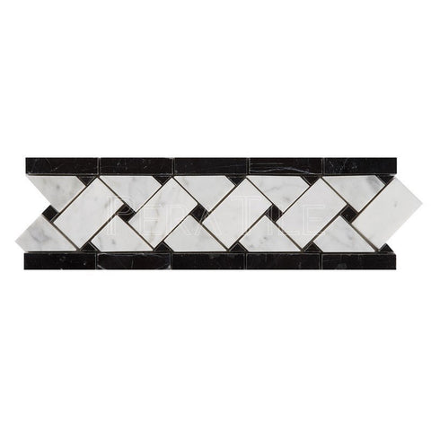 "3 3/4""X11 3/4"" Basket Weave Border In Bianco Carrara + Nero Marquina  [Dots] - Polished"