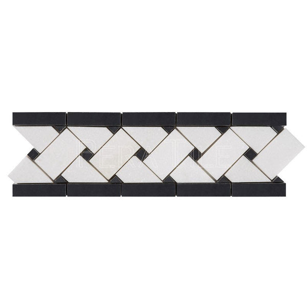 "3 3/4""X11 3/4"" Basket Weave Border In Thassos White + Nero Marquina  [Dots] - Polished"