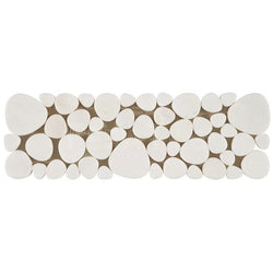 "4""X12"" Cut Pebbles Border In Thassos White - Polished"