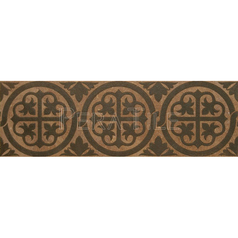 "Engraved Designer Border : 6""X18""X1/2"" [W] - Noce [Olive] - Honed And Filled"