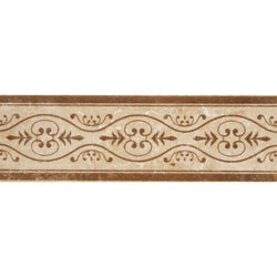 "Engraved Designer Border : 4""X12"" [W] - Light Travertine[Coffee] - Honed And Filled"