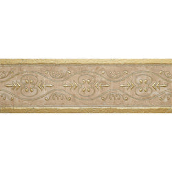 "Engraved Designer Border : 4""X12"" [W] - Turkish Marfil [Gold] - Polished"