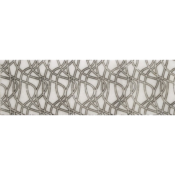 "Engraved Designer Border  : 4""X12"" [W] - Bianco Venatino [Black] - Polished"