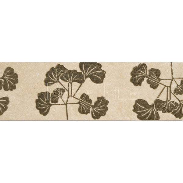"Engraved Designer Border  : 4""X12"" [W] - Light Travertine[Olive] - Honed And Filled"