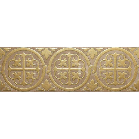"Engraved Designer Border : 6""X18""X1/2"" [F/W] - Turkish Marfil [Gold] - Polished"