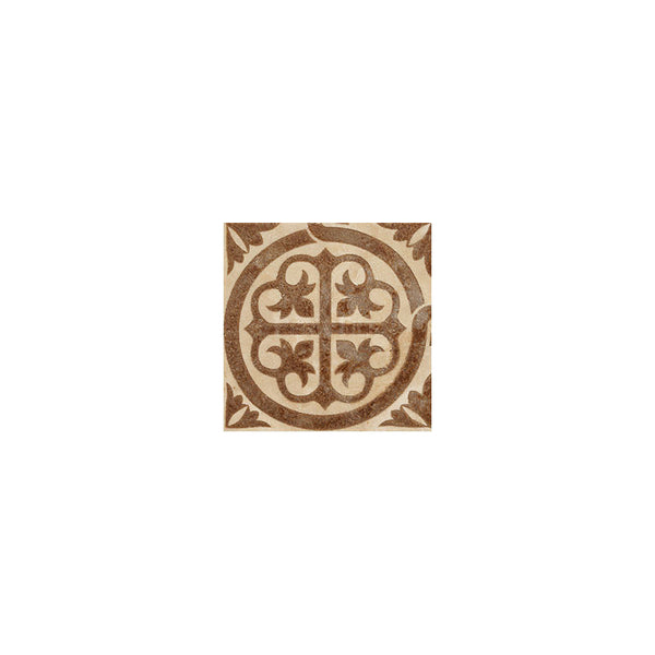 "Engraved Designer Border : 6""X6""X1/2"" Corner - Light Travertine[Coffee] - Honed And Filled"