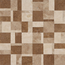 Designer Pattern Mosaic In Light Travertine+ Walnut Travertine + Noce - Honed