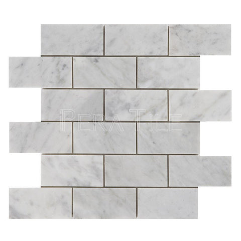 "Bianco Carrara 2""X4"" Brick Mosaic - Honed"