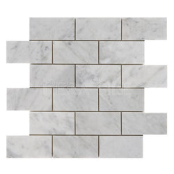 "Bianco Carrara 2""X4"" Brick Mosaic - Polished"