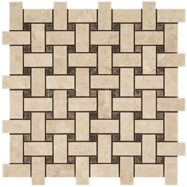 "1""X2"" Basket Weave Mosaic In Turkish Marfil + Maroon Emperador  [Dots] - Polished"