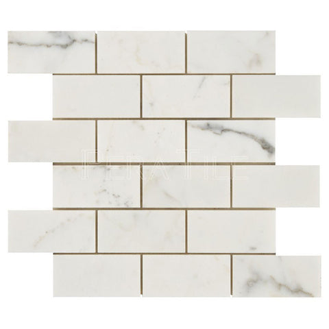 "Calacatta Gold 2""X4"" Brick Mosaic - Honed"