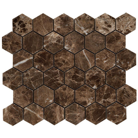 "Dark Emperador 2"" Hexagon Mosaic - Polished (0.9 Sqft/Sh)"