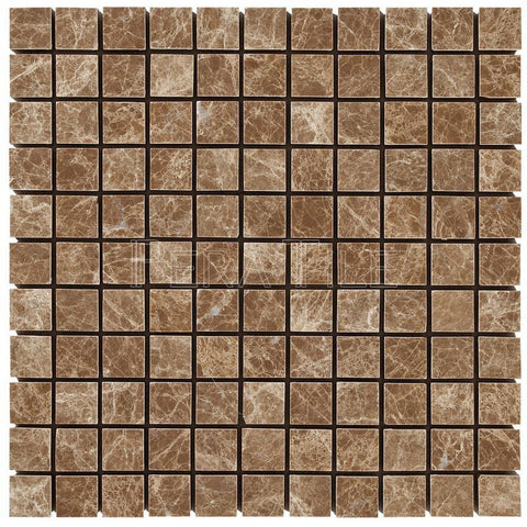"Light Emperador  1""X1"" Mosaic - Polished"
