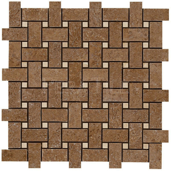 "1""X2"" Basket Weave Mosaic In Noce Trv + Light Travertine [Dots] - Honed"