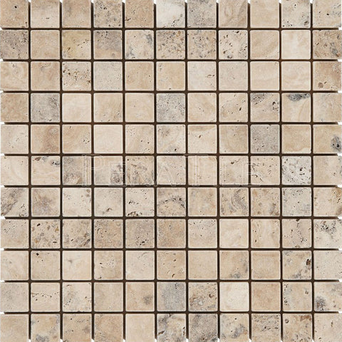 "Philadelphia Travertine 1""X1"" Mosaic - Tumbled"