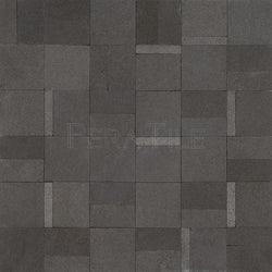 Designer Pattern Mosaic In Gray Basalt - Honed And Sand Blasted