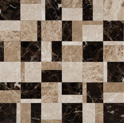 Designer Pattern Mosaic In Turkish Marfil + Maroon Emperador + Light Emperador - Polished