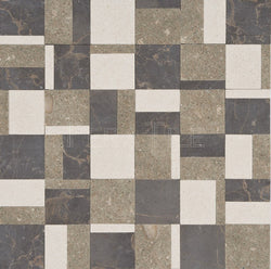 Designer Pattern Mosaic In Seagrass + Lymra [Champagne] + Olivia - Honed