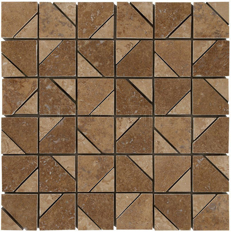 Designer Pattern Mosaic In Noce + Walnut Travertine - Honed