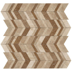 Designer Pattern Mosaic In Light Travertine+ Walnut Travertine + Noce - Honed (0.9 Sqft/Sh)