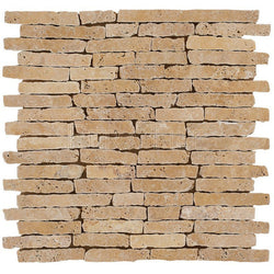 "5/8"" Random Length Stick Mosaic In Gold Travertine - Slight Tumbled, Hand-Broken Edges"