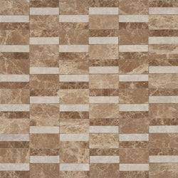 Textured Designer Pattern Mosaic In Light Emperador [Honed] +Light Emperador [Thin-Rolled]