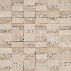 Textured Designer Pattern Mosaic In Light Travertine[Honed] + Noce [Sandblasted]
