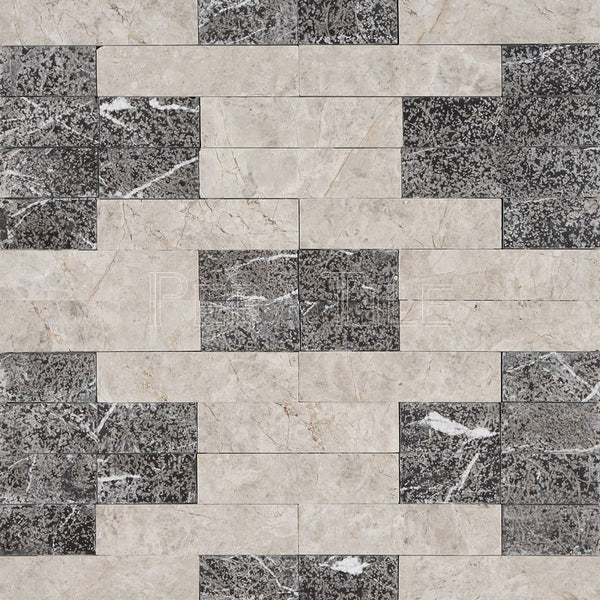 Textured Designer Pattern Mosaic In Silver Shadow [Honed] +Nero Marquina [Sandblasted]