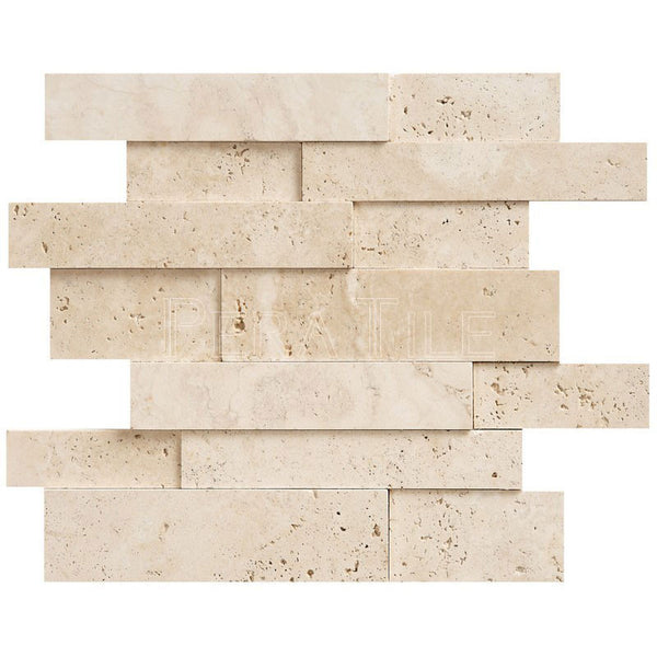3D Wall Ledger Panel In Light Travertine- Honed