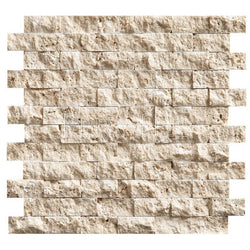 "1""X2"" Offset Mosaic In Light Travertine- Split Face (0.85 Sqft/Sh)"