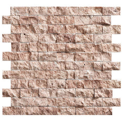 "1""X2"" Offset Mosaic In Red travertine - Split Face (0.85 Sqft/Sh)"