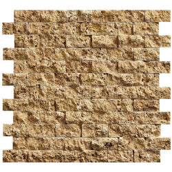 "1""X2"" Offset Mosaic In Gold Travertine - Split Face (0.85 Sqft/Sh)"