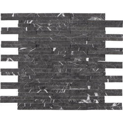 "3/8""X4"" Offset Mosaic In Nero Marquina - Split Face"
