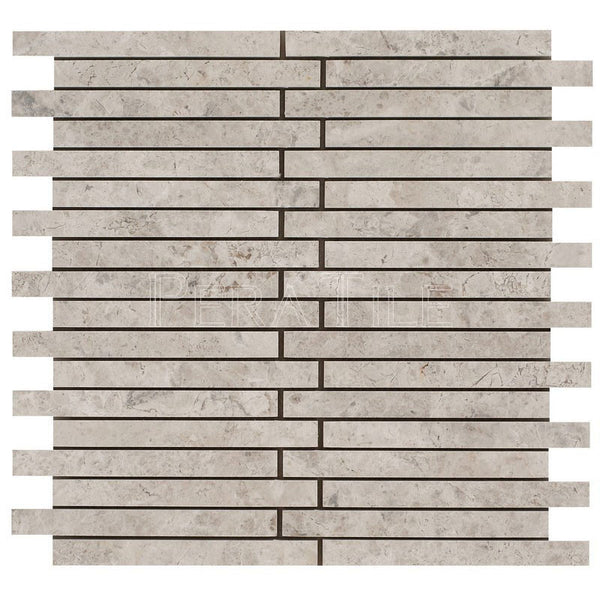 "5/8""X6"" Offset Linear Mosaic In Silver Shadow - Honed"
