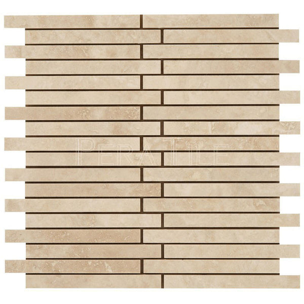 "5/8""X6"" Offset Linear Mosaic In Light Travertine- Honed"