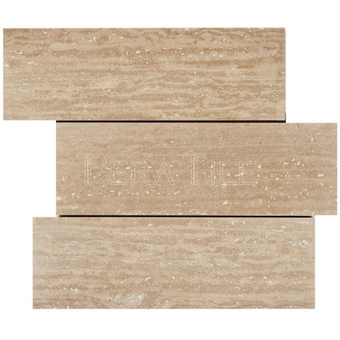 "4""X12"" Offset Mosaic In Vein Cut Light Travertine - Brushed"