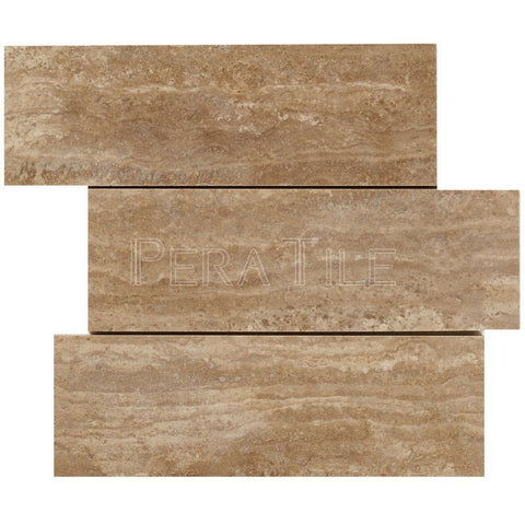 "4""X12"" Offset Mosaic In Walnut Travertine Vein Cut - Brushed"