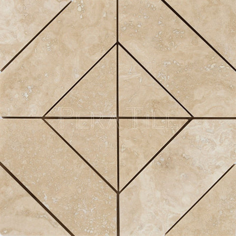 Diagonal Mosaic In Light Travertine- Honed Filled