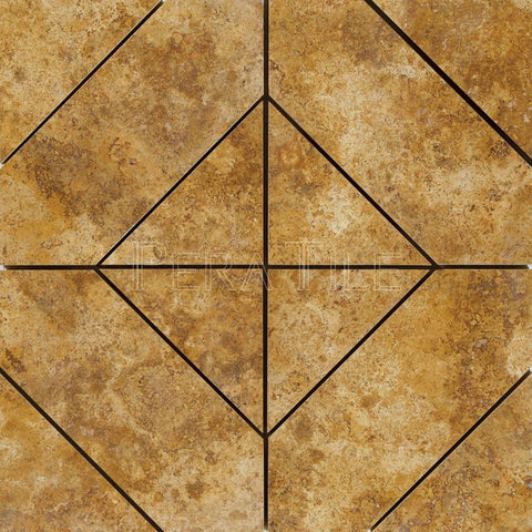 Diagonal Mosaic In Gold Travertine - Honed Filled