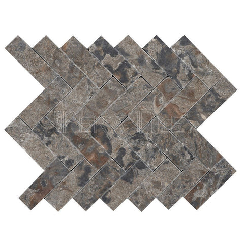 "1""X3"" Herringbone In Emgoni Marble - Tumbled (0.57 Sqft/Sh)"