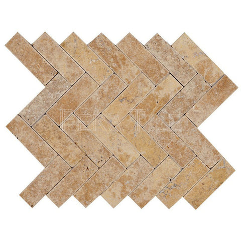 "1""X3"" Herringbone In Gold Travertine - Tumbled (0.57 Sqft/Sh)"