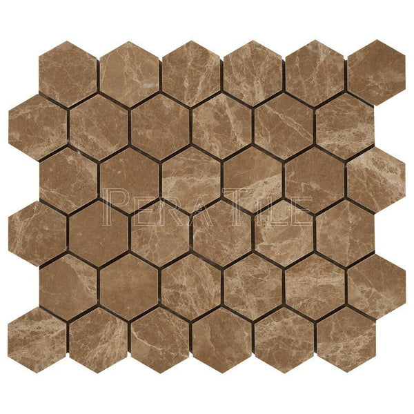 "Light Emperador 2"" Hexagon Mosaic - Polished (0.9 Sqft/Sh)"