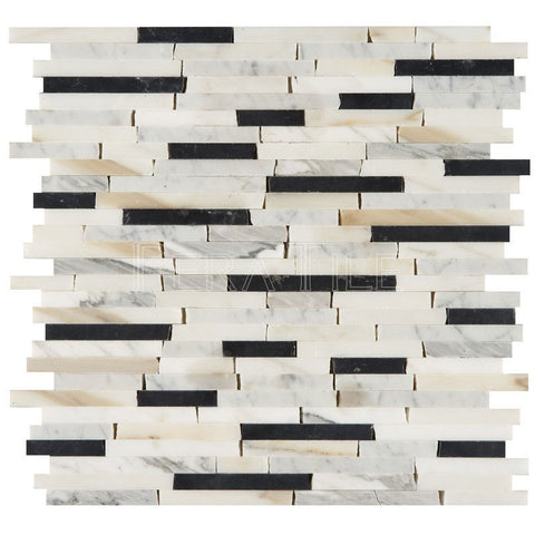 "3/8"" Random Length Random Stick Mosaic In Calacatta Gold + Nero Marquina - Polished"
