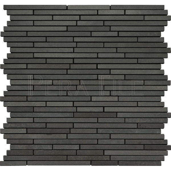 "5/16"" Random Length Random Stick Mosaic In Gray Basalt - Honed"