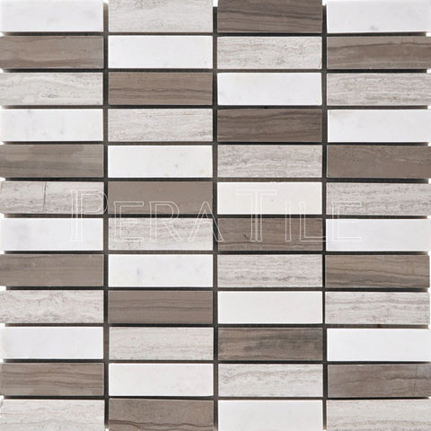 "1""X3"" Bar Mosaic In Warm Gray Blend - Honed + Polished"