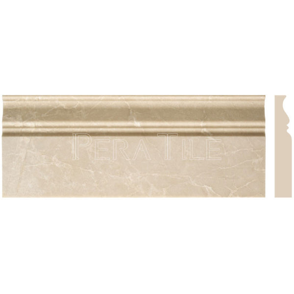 "Turkish Botticino 4 3/4""X12"" Classic Baseboard - Honed"