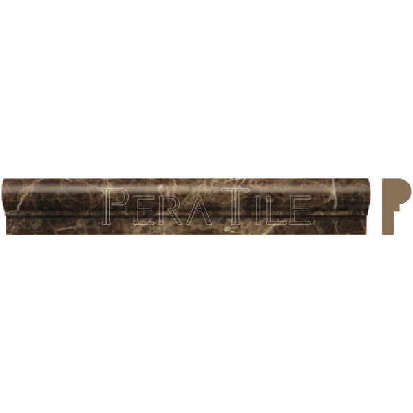 "Dark Emperador 2""X12"" Single Ogee - Polished"