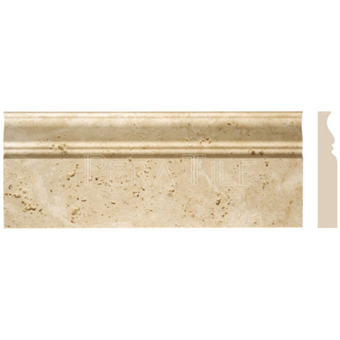 "Light Travertine 4 3/4""X12"" Classic Baseboard - Honed"