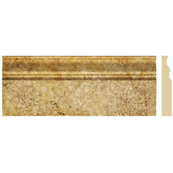 "Gold Travertine 4 3/4""X12"" Classic Baseboard - Honed"